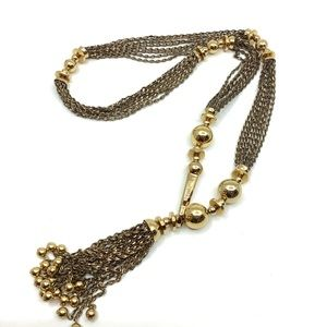 Stella and Dot gold tone statement long necklace
